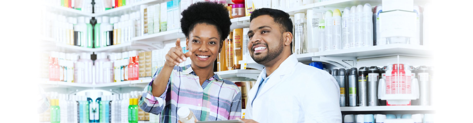 a pharmacist and a customer talking